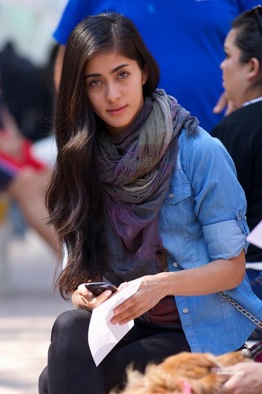 beautiful hispanic lady in tight jeans
